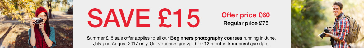 Summer 2017 Beginners photography course sale