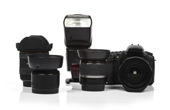 professional photographic equipment - dslr camera, lenses, flash