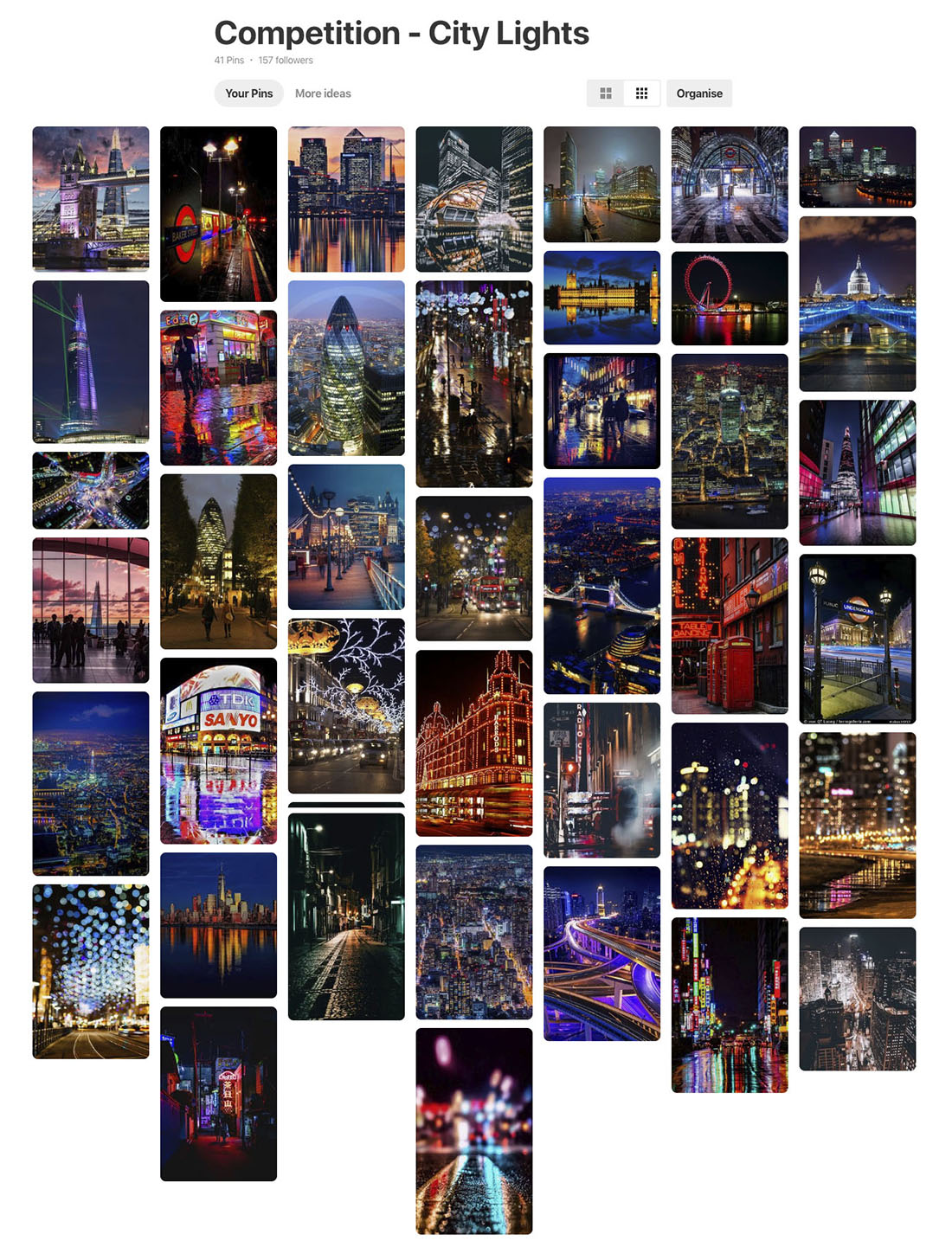 City Lights photography competition pinterest board
