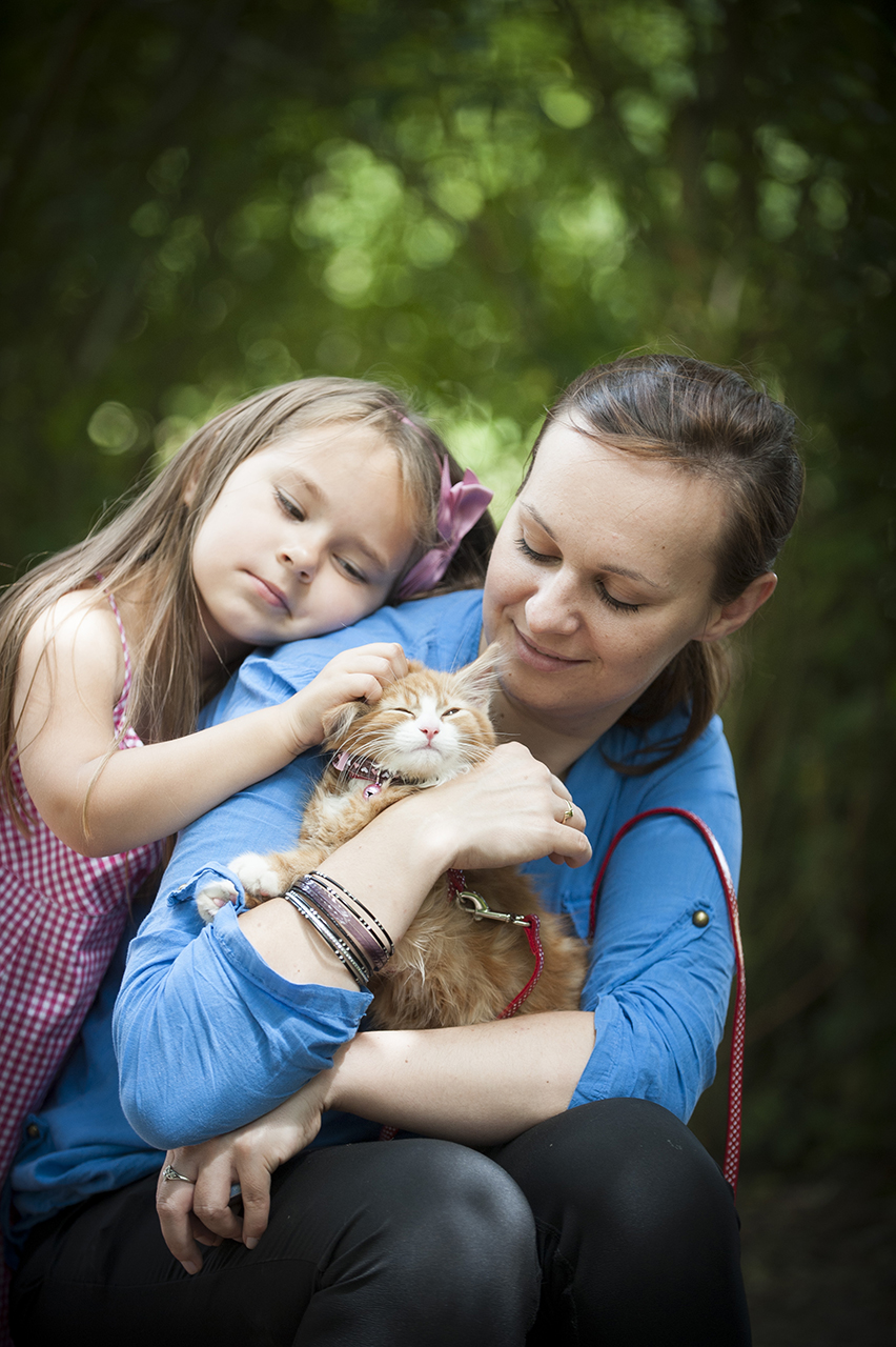 family with a pet cat