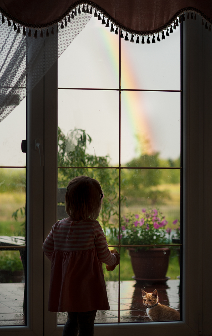 young girl and her cat by the window looking at the rainbow